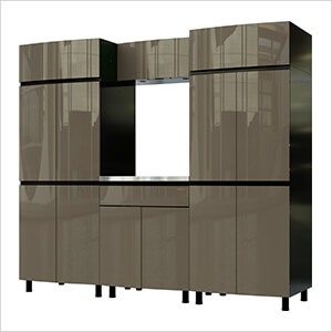 7.5' Premium Terra Grey Garage Cabinet System with Stainless Steel Tops