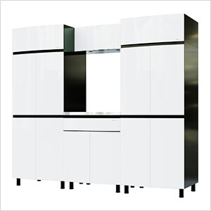 7.5' Premium Alpine White Garage Cabinet System with Stainless Steel Tops