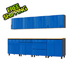 Contur Cabinet 10' Premium Santorini Blue Garage Cabinet System with Butcher Block Tops