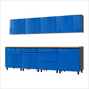 10' Premium Santorini Blue Garage Cabinet System with Butcher Block Tops