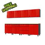 Contur Cabinet 10' Premium Cayenne Red Garage Cabinet System with Butcher Block Tops