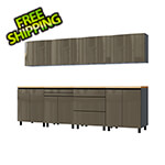 Contur Cabinet 10' Premium Terra Grey Garage Cabinet System with Butcher Block Tops
