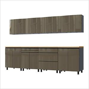 10' Premium Terra Grey Garage Cabinet System with Butcher Block Tops