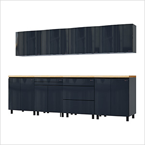 10' Premium Karbon Black Garage Cabinet System with Butcher Block Tops
