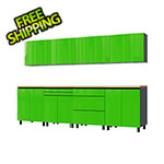 Contur Cabinet 10' Premium Lime Green Garage Cabinet System with Butcher Block Tops
