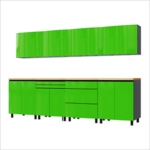 10' Premium Lime Green Garage Cabinet System with Butcher Block Tops
