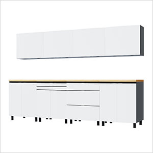 10' Premium Alpine White Garage Cabinet System with Butcher Block Tops
