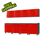 Contur Cabinet 10' Premium Cayenne Red Garage Cabinet System with Stainless Steel Tops