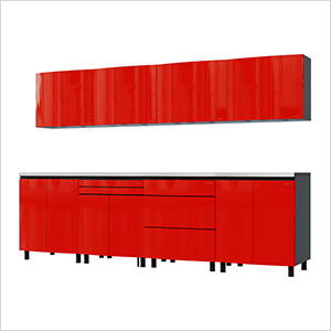 10' Premium Cayenne Red Garage Cabinet System with Stainless Steel Tops