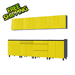Contur Cabinet 10' Premium Vespa Yellow Garage Cabinet System with Stainless Steel Tops