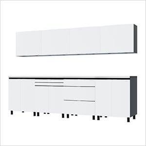 10' Premium Alpine White Garage Cabinet System with Stainless Steel Tops