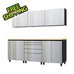 Contur Cabinet 7.5' Premium Stainless Steel Garage Cabinet System with Butcher Block Tops