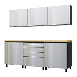 7.5' Premium Stainless Steel Garage Cabinet System with Butcher Block Tops