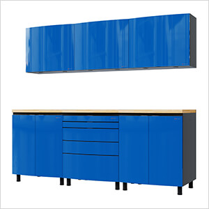 7.5' Premium Santorini Blue Garage Cabinet System with Butcher Block Tops