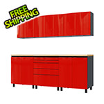 Contur Cabinet 7.5' Premium Cayenne Red Garage Cabinet System with Butcher Block Tops