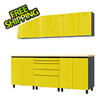 Contur Cabinet 7.5' Premium Vespa Yellow Garage Cabinet System with Butcher Block Tops