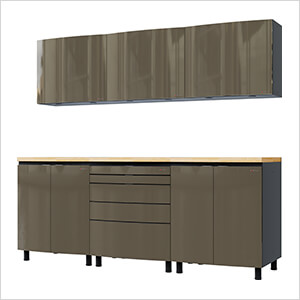 7.5' Premium Terra Grey Garage Cabinet System with Butcher Block Tops