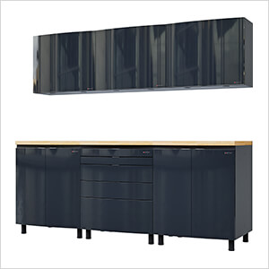 7.5' Premium Karbon Black Garage Cabinet System with Butcher Block Tops