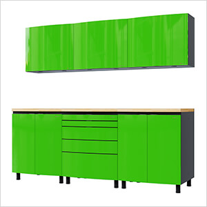 7.5' Premium Lime Green Garage Cabinet System with Butcher Block Tops