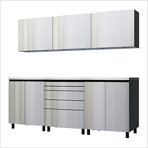 7.5' Premium Stainless Steel Garage Cabinet System with Stainless Steel Tops