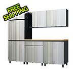 Contur Cabinet 7.5' Premium Stainless Steel Garage Cabinet System with Butcher Block Tops
