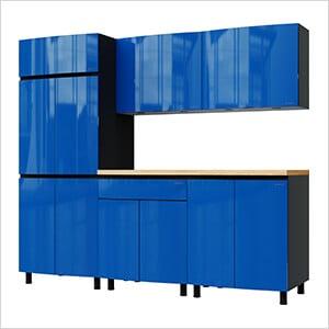 7.5' Premium Santorini Blue Garage Cabinet System with Butcher Block Tops