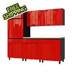 Contur Cabinet 7.5' Premium Cayenne Red Garage Cabinet System with Butcher Block Tops