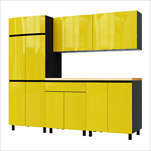 7.5' Premium Vespa Yellow Garage Cabinet System with Butcher Block Tops