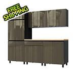 Contur Cabinet 7.5' Premium Terra Grey Garage Cabinet System with Butcher Block Tops