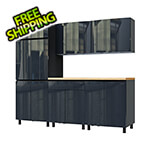 Contur Cabinet 7.5' Premium Karbon Black Garage Cabinet System with Butcher Block Tops