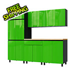 Contur Cabinet 7.5' Premium Lime Green Garage Cabinet System with Butcher Block Tops