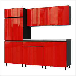 7.5' Premium Cayenne Red Garage Cabinet System with Stainless Steel Tops