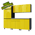 Contur Cabinet 7.5' Premium Vespa Yellow Garage Cabinet System with Stainless Steel Tops