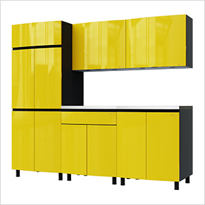 7.5' Premium Vespa Yellow Garage Cabinet System with Stainless Steel Tops