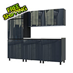Contur Cabinet 7.5' Premium Karbon Black Garage Cabinet System with Stainless Steel Tops