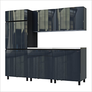 7.5' Premium Karbon Black Garage Cabinet System with Stainless Steel Tops