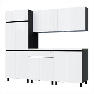7.5' Premium Alpine White Garage Cabinet System with Stainless Steel Tops