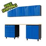 Contur Cabinet 7.5' Premium Santorini Blue Garage Cabinet System with Butcher Block Tops