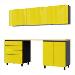 7.5' Premium Vespa Yellow Garage Cabinet System with Butcher Block Tops