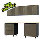 Contur Cabinet 7.5' Premium Terra Grey Garage Cabinet System with Butcher Block Tops