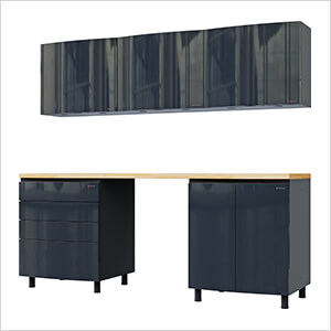 7.5' Premium Karbon Black Garage Cabinet System with Butcher Block Tops