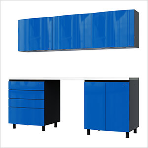 7.5' Premium Santorini Blue Garage Cabinet System with Stainless Steel Tops