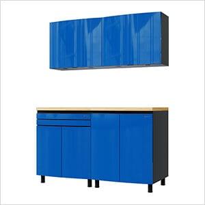 5' Premium Santorini Blue Garage Cabinet System with Butcher Block Tops