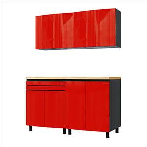 5' Premium Cayenne Red Garage Cabinet System with Butcher Block Tops