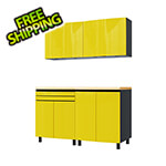 Contur Cabinet 5' Premium Vespa Yellow Garage Cabinet System with Butcher Block Tops