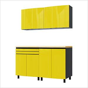 5' Premium Vespa Yellow Garage Cabinet System with Butcher Block Tops