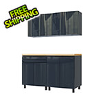 Contur Cabinet 5' Premium Karbon Black Garage Cabinet System with Butcher Block Tops