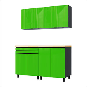 5' Premium Lime Green Garage Cabinet System with Butcher Block Tops