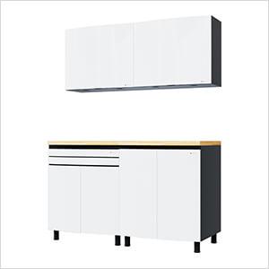5' Premium Alpine White Garage Cabinet System with Butcher Block Tops