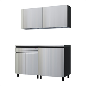 5' Premium Stainless Steel Garage Cabinet System with Stainless Steel Tops